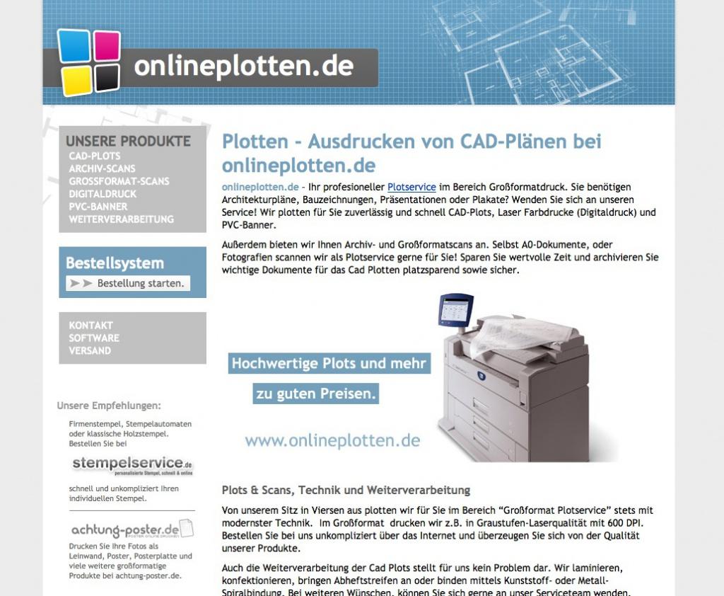 Screenshot von onlineplotten.de (Juni 2015)