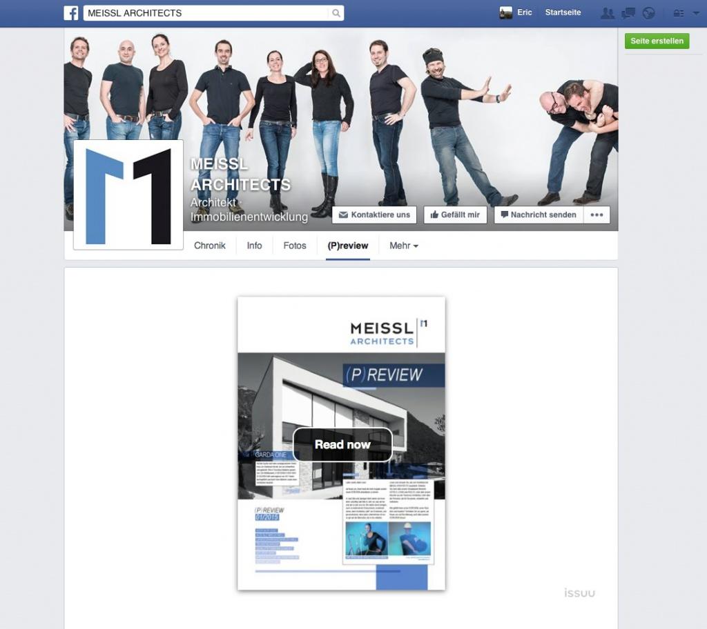 Meissl Architects: Screenshot der Facebook-Seite mit dem eingebetteten Büro-Magazin (Juni 2015)