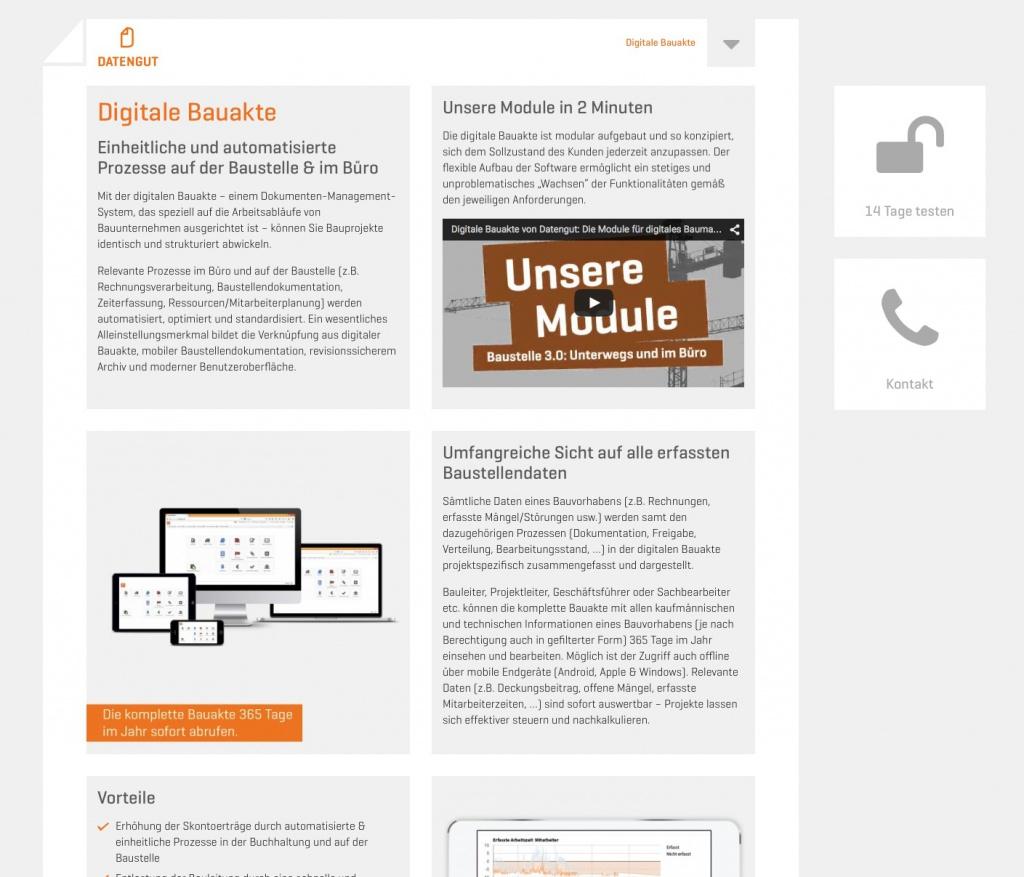 Bauprojekte verwalten mit der digitalen Bauakte von Datengut (Screenshot Juni 2015)