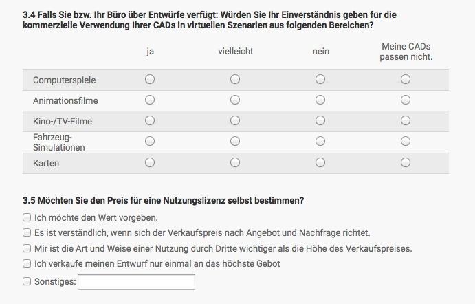 Ausschnitt des Fragebogens für Architekten (Screenshot von cadsanddocs.de)