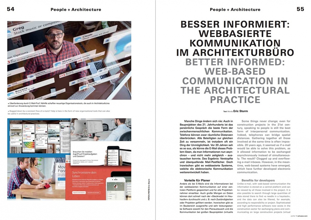 """Fachartikel """"Webbasierte Kommunikation im Architekturbüro"""" im Magazin profile von Schüco"""