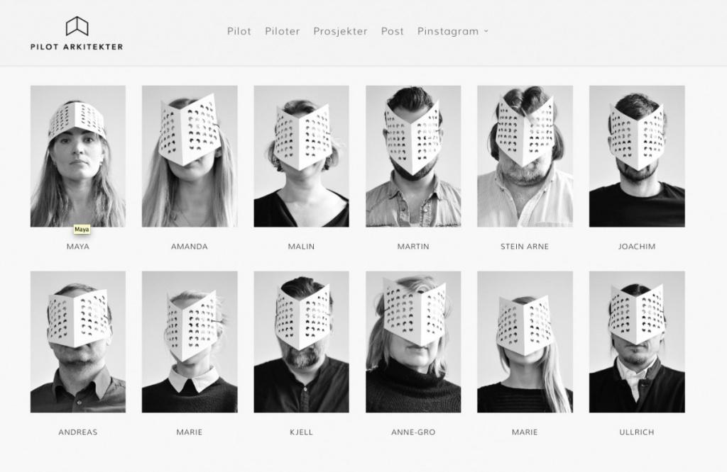 Humorvolle Team-Seite von Pilot Arkitekter (Screenshot September 2015)