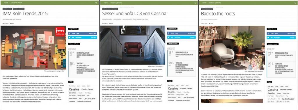Drei Beiträge im Blog von used-design.com