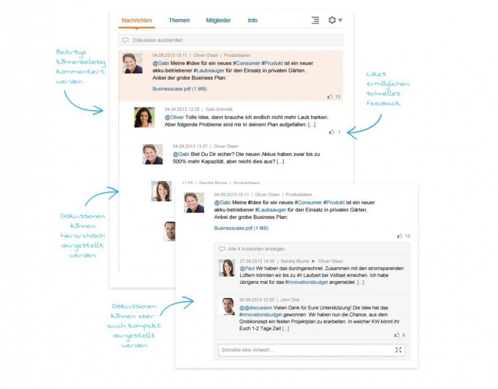 Themenorientierte, transparente Kommunikation statt E-Mail-Chaos (Screenshot: communote)