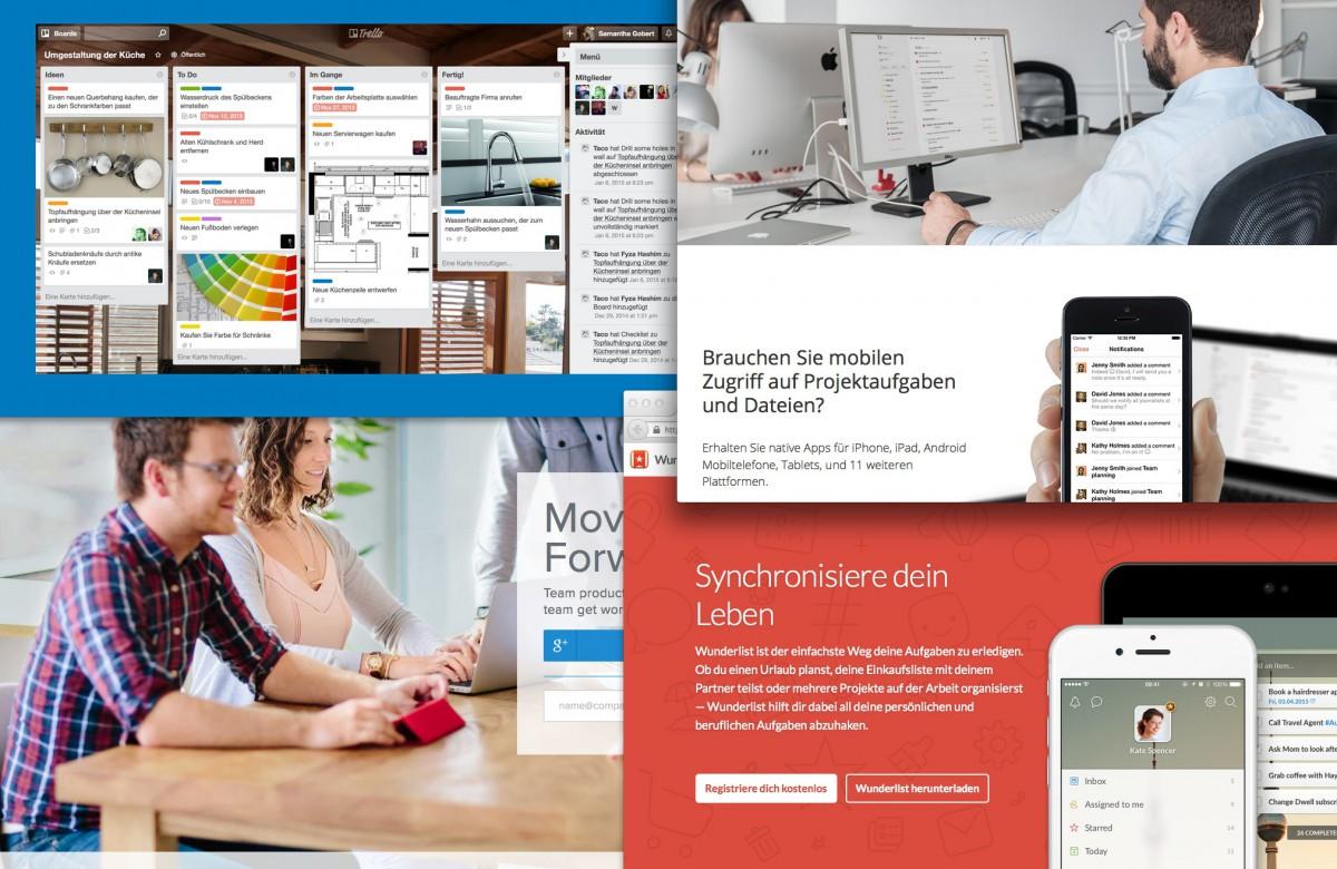 Webbasierte Kommunikation für Architekten und Ingenieure (Screenshot-Collage)
