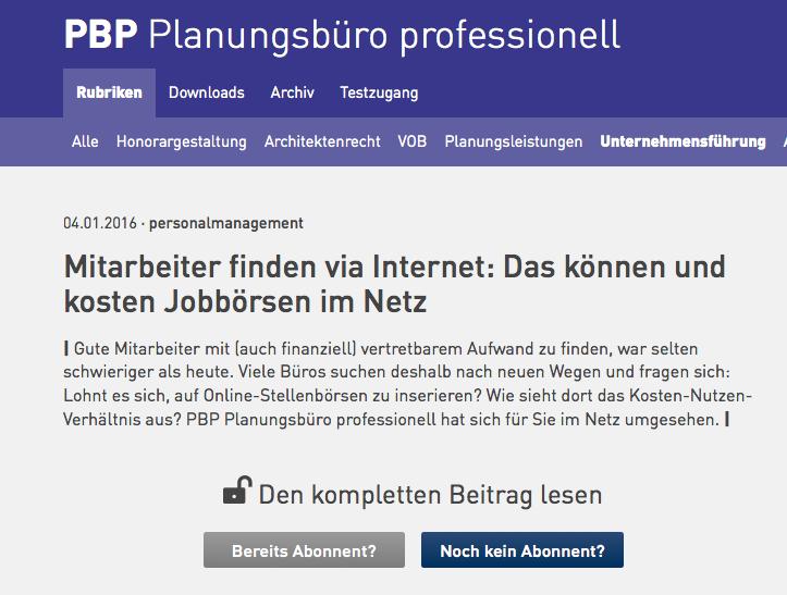 """Planungsbüro professionell (01/2016): Fachartikel """"Jobbörsen im Netz"""" – Screenshot der Online-Ausgabe"""