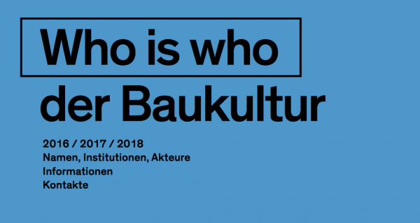 Who is who der Baukultur – Neuauflage 2016