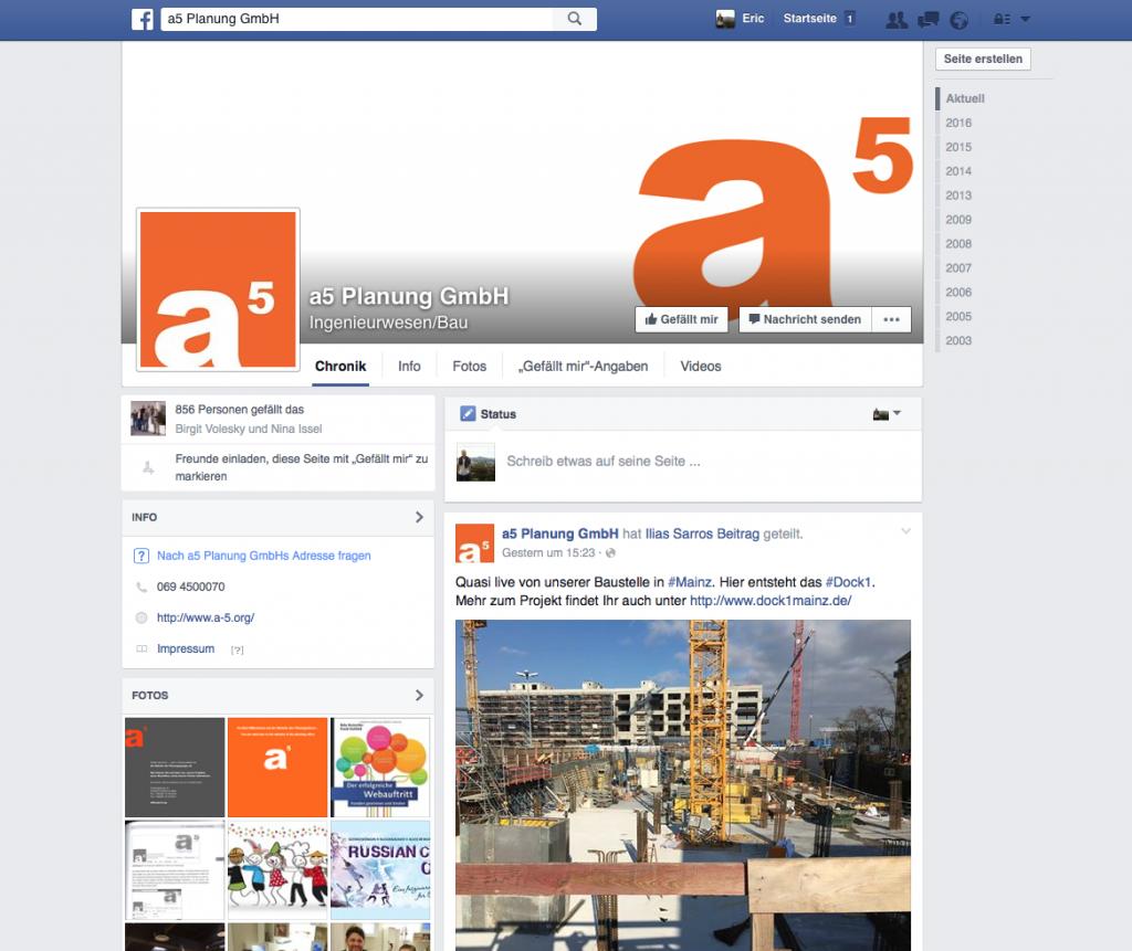 Die Facebook-Seite von a5 Planung GmbH aus Frankfurt/Main (Screenshot Februar 2016)