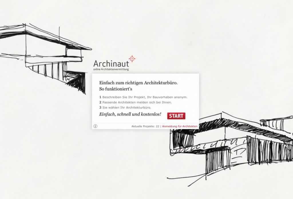 """Die Plattform """"Archinaut"""" bringt Architekten und Bauherren zusammen (Screenshot Februar 2016)"""