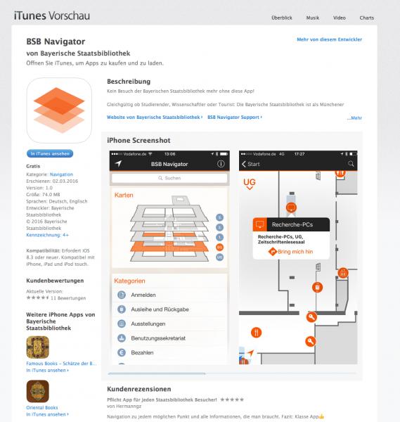 Screenshot: Die Smartphone-App der Bayerischen Staatsbibliothek auf itunes.apple.com