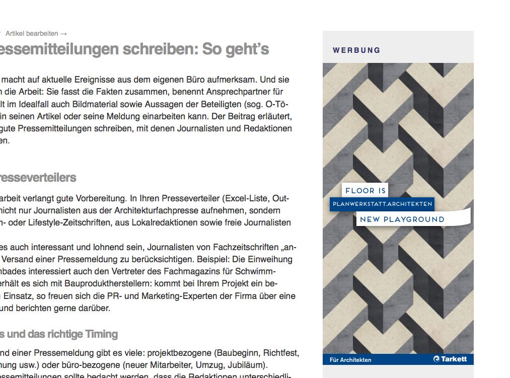 Der Grafik-Banner von TARKETT auf Internet-fuer-Architekten.de