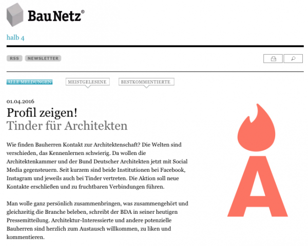 Aprilscherz: Tinder für Architekten? (Screenshot von BauNetz.de)