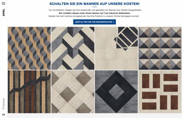 Auf der TARKETT-Website können individuelle Muster für Bodenbeläge entworfen werden (Screenshot).
