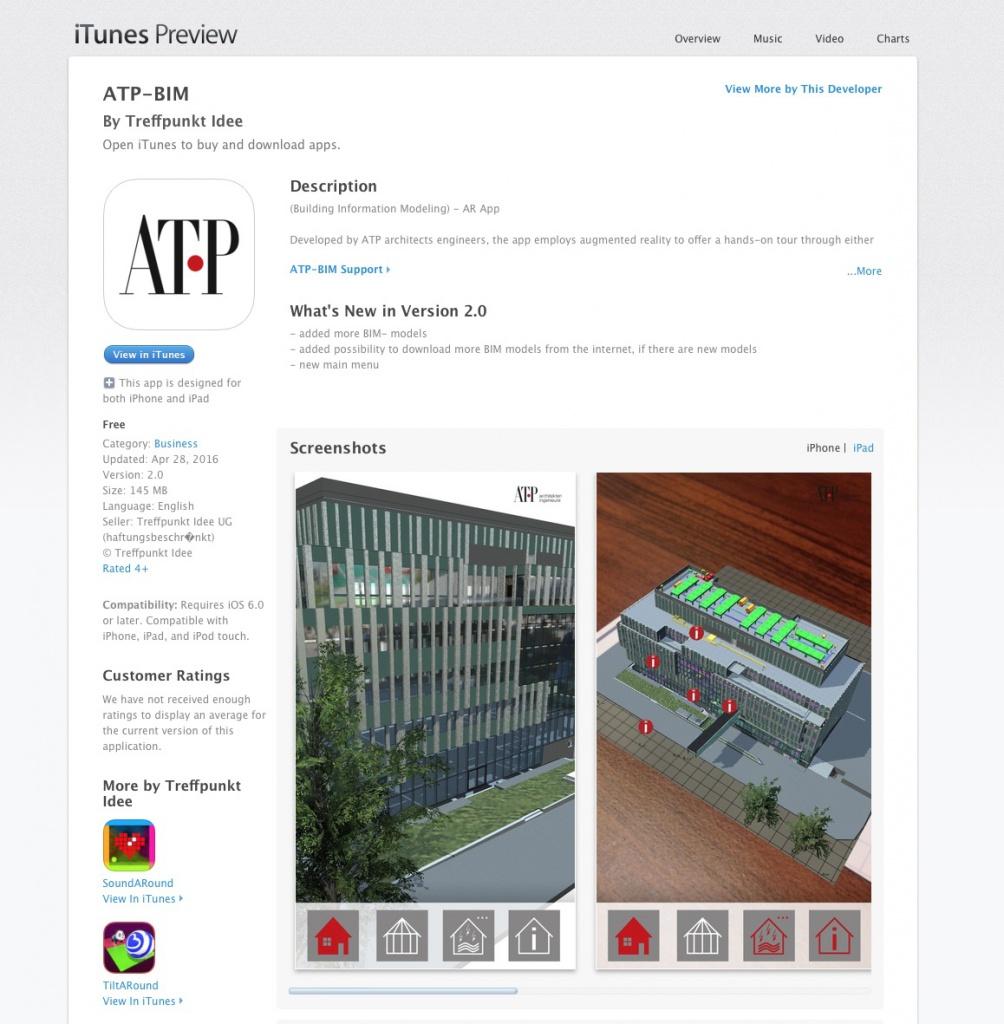 Screenshot: Die BIM-App von ATP im App-Store von Apple