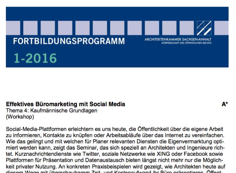 Social Media-Seminar in Magdeburg (Veranstalter: Architektenkammer Sachsen-Anhalt); Screenshot der Seminarankündigung