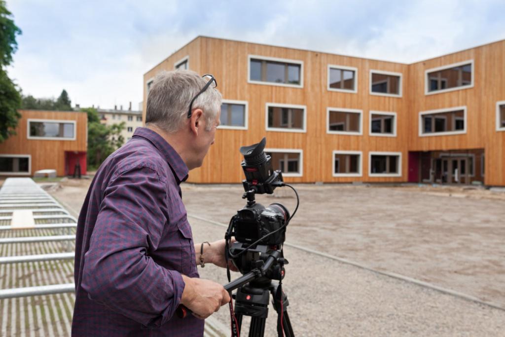 """Filmaufnahmen von """"WWS Film Berlin"""" auf der Baustelle des Waldorf-Campus, Berlin-Schöneberg"""
