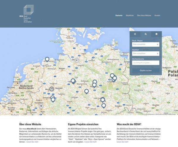 """BDIA """"Atlas"""" ist als neues Nachschlagewerk Innenarchitektur online (Screenshot Startseite)"""