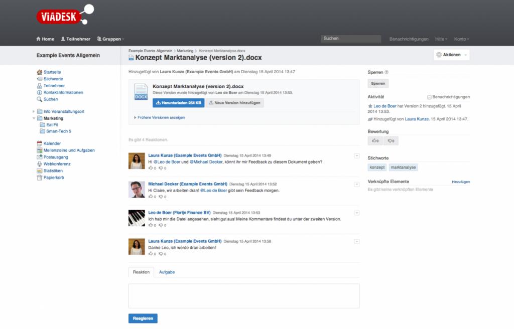 Interne Diskussion zu einem Office-Dokument (Screenshot: Viadesk)