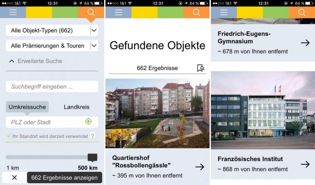 Architekturführer Baden-Württemberg: Objektsuche und Ergebnisse (Screenshots: FUF.de)