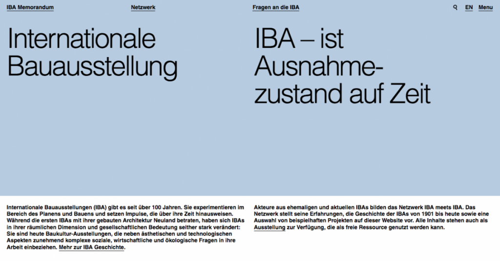 Screenshot der Startseite auf open-iba.de (Ausschnitt)