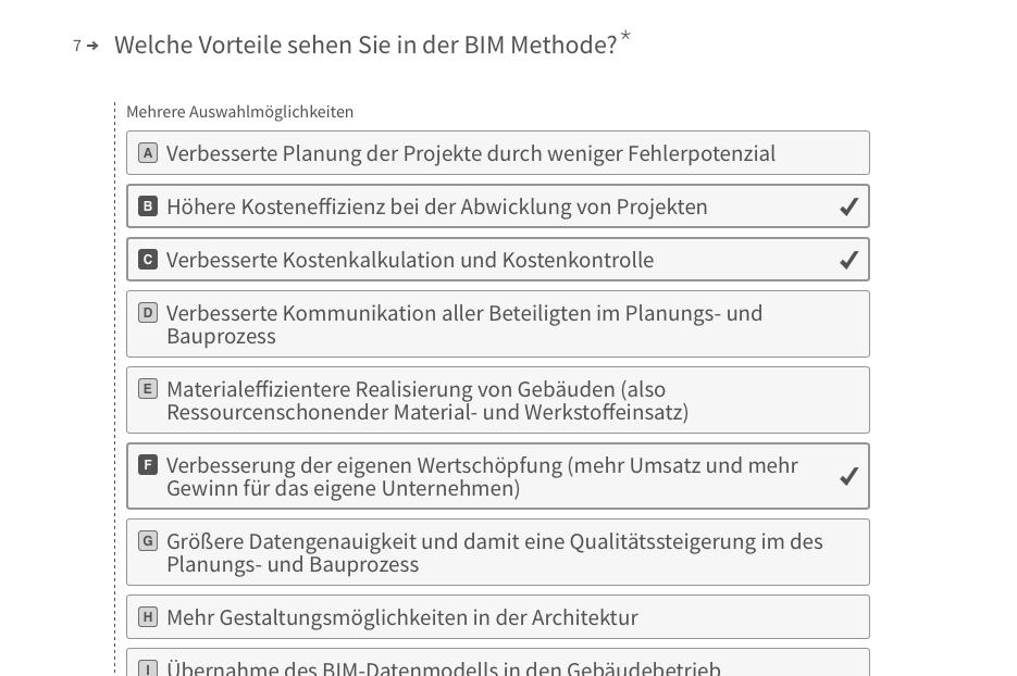 Leserumfrage 2017 von DETAIL zur Nutzung von BIM in Deutschland (Screenshot)