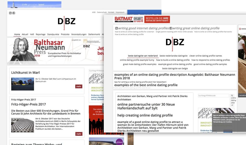 """Screenshots vom 12.10.2017: Links das Original, dbz.de (Deutsche Bauzeitung, Bauverlag), rechts ein sog. """"Website-Klon"""", der über die Domain poketrlistings.gq erreichbar ist."""