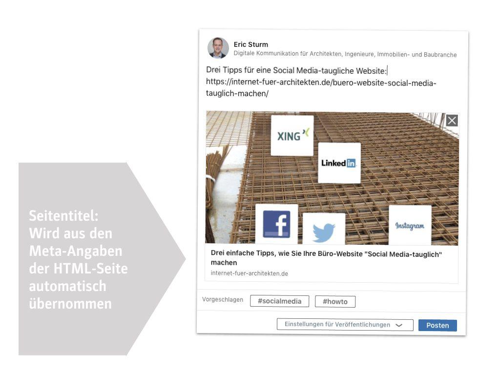 """Artikelvorschau beim Teilen eines Fachartikels mit """"Open Graph Image"""" (diese Seite!) auf LinkedIn"""