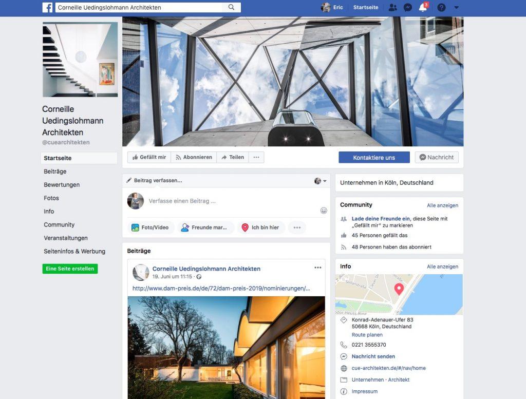 Corneille Uedingslohmann Architekten, Köln (Screenshot der Facebook-Seite, Juli 2018)