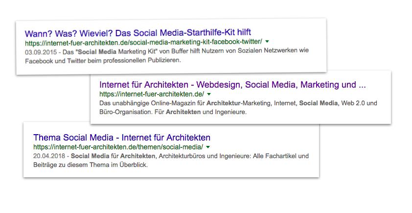 Google-Snippets mit gut lesbarern Meta-Angaben (Title + Description) von verschiedenen Seiten im Online-Magazin Internet-fuer-Architekten.de