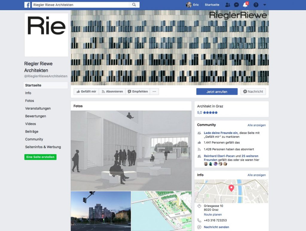 Riegler Riewe Architekten (Screenshot Facebook-Seite Juli 2018)