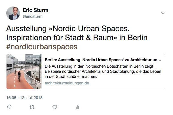 Tweet von Eric Sturm zur Ausstellung in den Nordischen Botschaften (Screenshot vom Juli 2018)