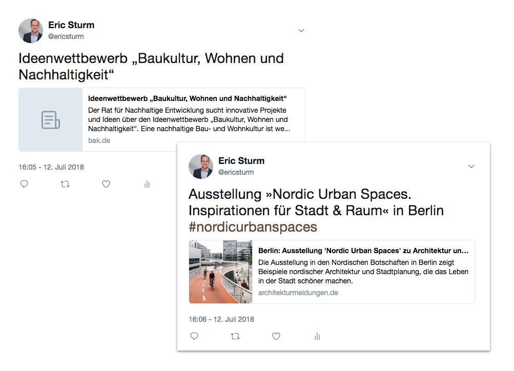 Twitter-Posts von der BAK-Website (ohne Vorschaubild, links) und von dem Architektur-Blog architekturmeldungen.de (mit Vorschaubild, rechts)
