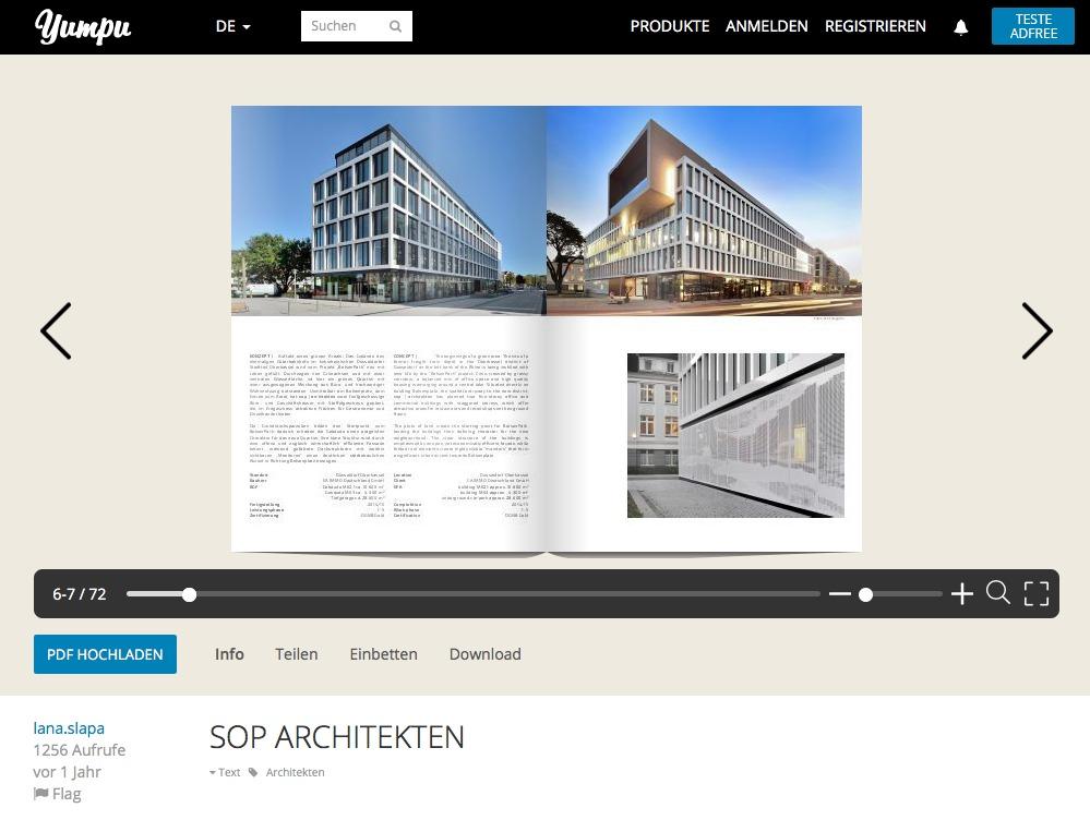 Broschüre von SOP Architekten, Düsseldorf, auf Yumpu (Screenshot August 2018)