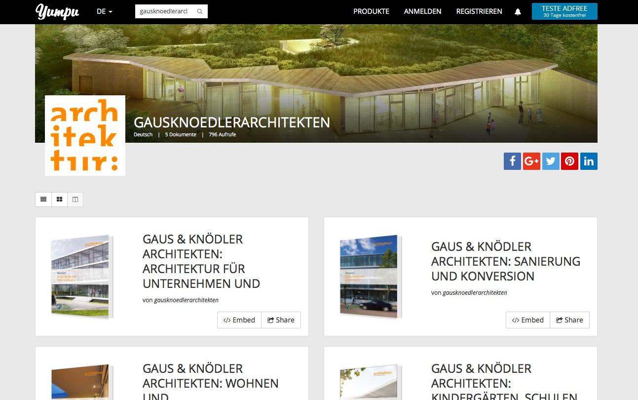 Nach Bauaufgaben getrennt sind die Broschüren von Gaus & Knödler Architekten auf Yumpu.