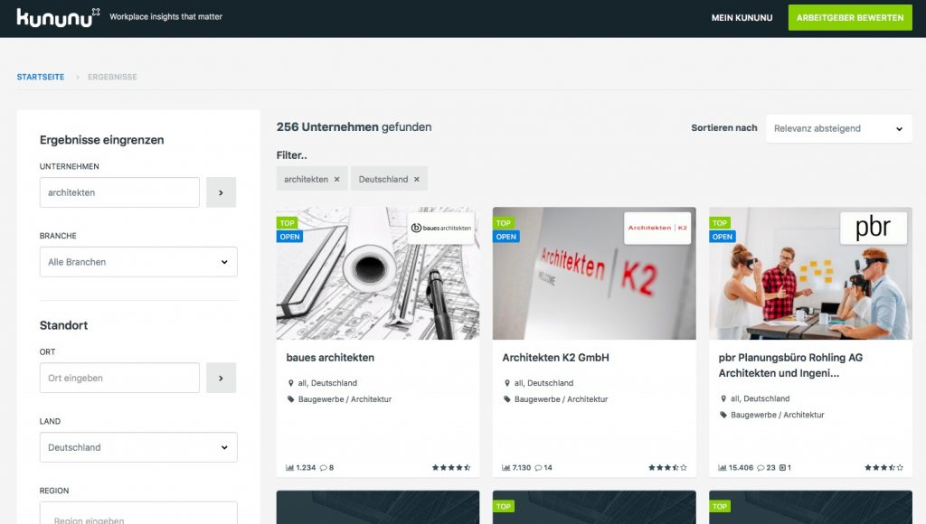 Deutsche Architekturbüros auf kununuu (Screenshot von September 2018)