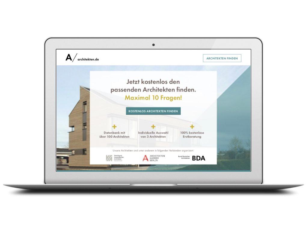 Individuelle Architekten-Empfehlungen und persönliche Beratung (Screenshot von architekten.de, September 2018)