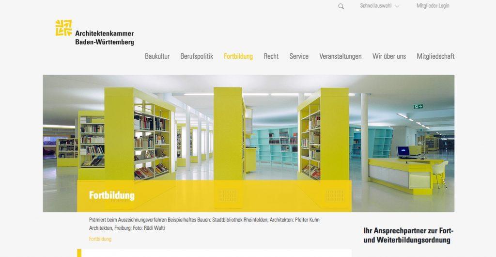 """Bereichsstartseite der Rubrik """"Fortbildung"""" (Screenshot Oktober 2018)"""