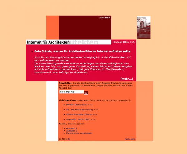 """Die Startseite von """"Internet für Architekten"""" im Sommer 2001"""