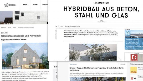 Pressearbeit für Architekten: Veröffentlichungen über Projekte meiner Kunden (Screenshot: Eric Sturm)