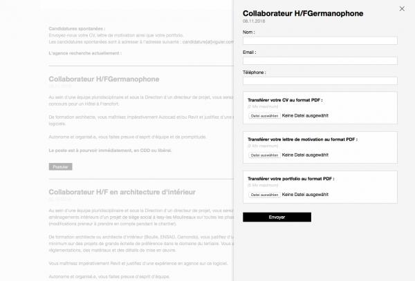 Stellenangebote und Bewerbungsformular auf der Website von Jean-Paul Viguier et Associés, Paris (Screenshot, November 2018)
