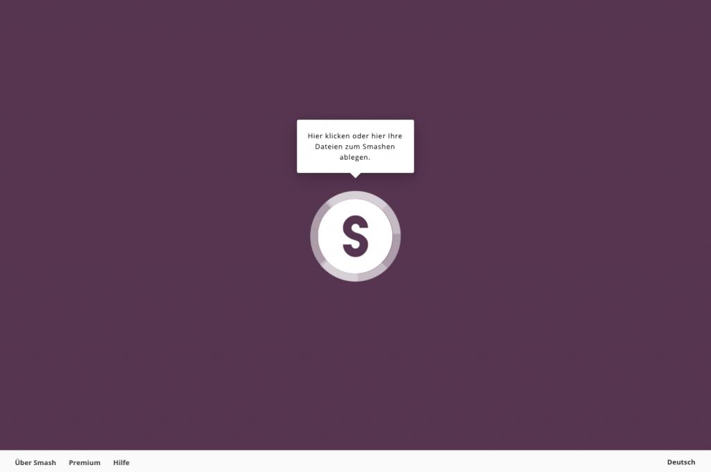 Auf das Wesentliche reduziert: Die Startseite von Smash (Screenshot Dezember 2018)