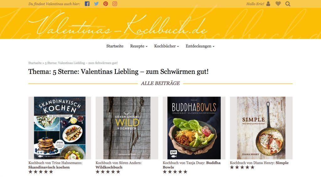 Immer ein gutes Geschenk für Architektinnen oder Architekten: Ein Kochbuch! (Screenshot Valentinas-Kochbuch.de)