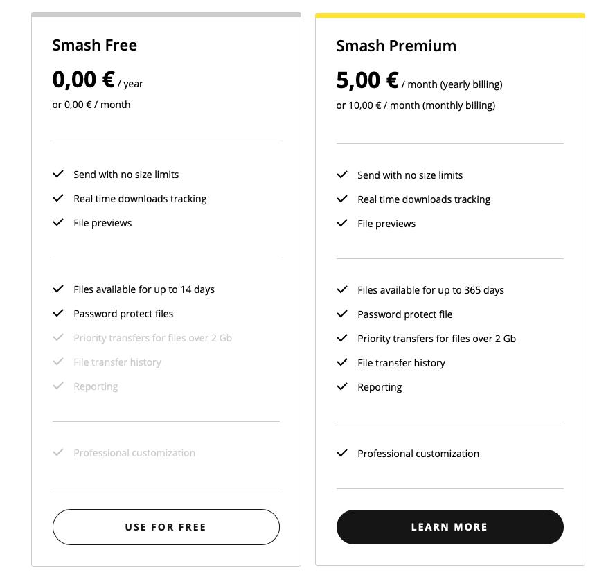 """Die Preise für die kostenlose Version (""""Smash Free"""") und die Premium-Version des File-Transfer-Services"""
