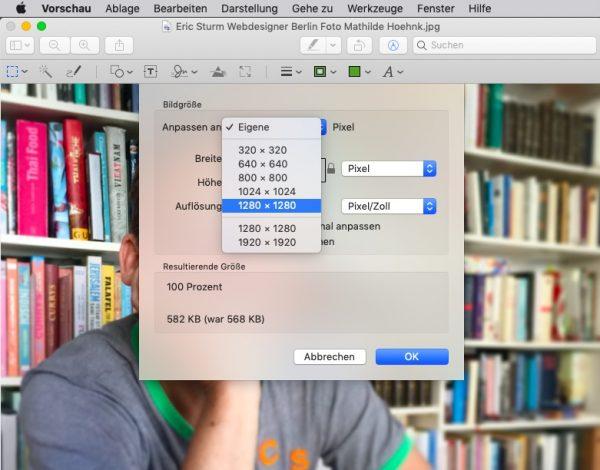 """Bilder-SEO: Foto zuschneiden mit Groessenkorrektur in """"Vorschau"""" auf dem Mac"""