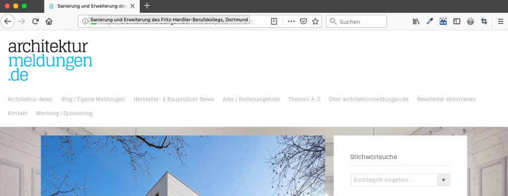 Der Seitentitel wird auch oben im Browser-Tab angezeigt (Screenshot 01/2019)