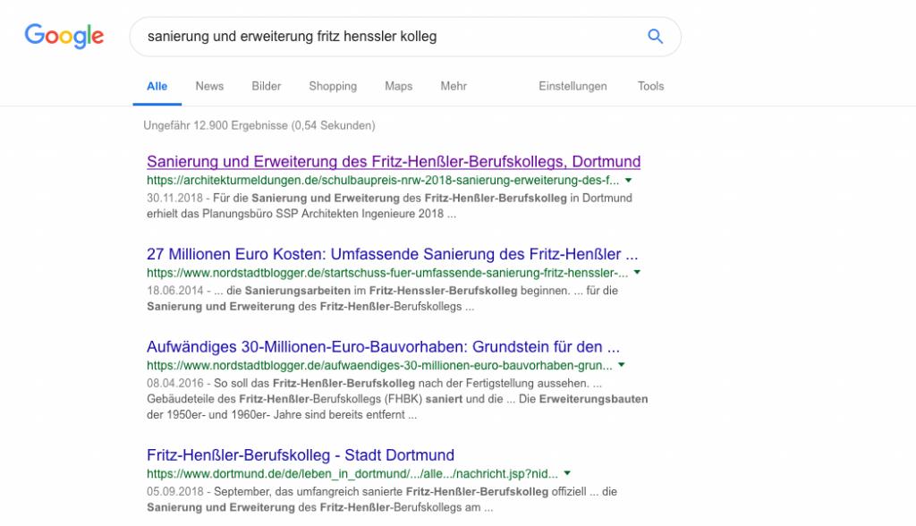 Der Title-Tag einer HTML-Seite wird zur Überschrift eines Suchtreffers bei Google (Screenshot 01/2019)