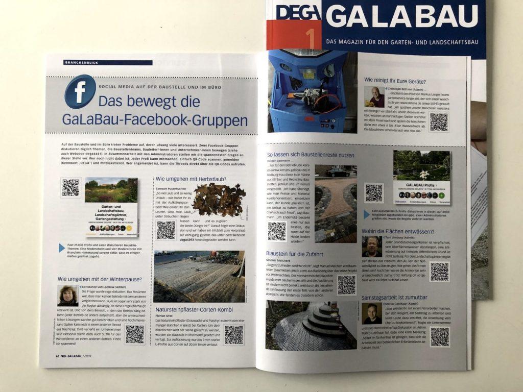 Im Fachmagazin DEGA GALABAU werden ausgewählte Inhalte aus Facebook-Gruppen abgedruckt (Foto: Tjards Wendebourg)