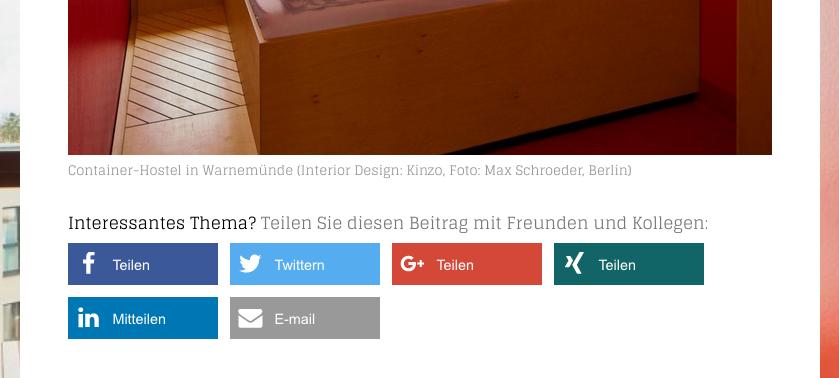 Weitersagen leicht gemacht: Sharing Buttons am Ende eines Blog-Beitrags auf architekturmeldungen.de (Screenshot 01/2019)