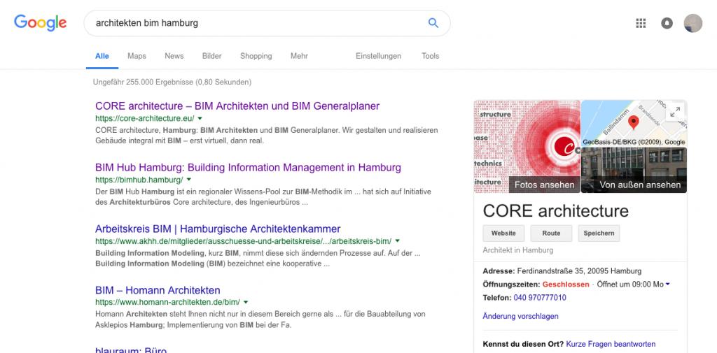 """Vieles richtig gemacht: Das Hamburger Büro CORE architecture steht bei einer Google-Suche nach """"bim architekten hamburg"""" ganz oben (Screenshot 01/2019)"""