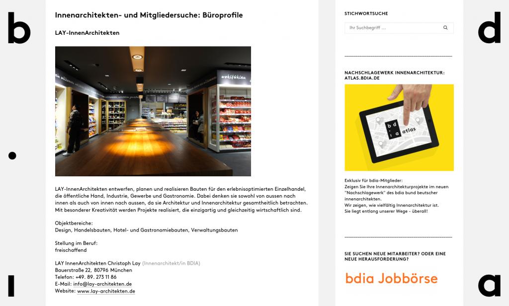 Mitglieder des bdia können sich auf bdia.de kostenlos ein Profil (inkl. Website-Link) anlegen. Darüber hinaus eignen sich die Seiten atlas.bdia.de und die Jobbörse, um Links auf die eigene Website zu erhalten (Screenshot 01/2019)